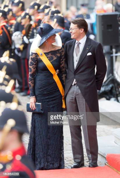 Princess Laurentien of The Netherlands and Prince Constantijn of The Netherlands are seen during celebrations for Prinsjesdag on September 17 2013 in...