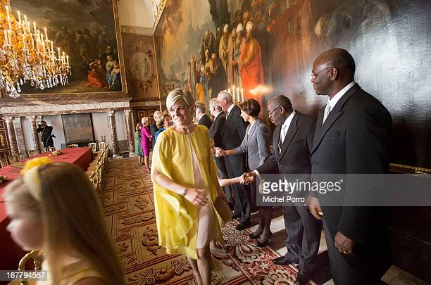Princess Laurentien of the Netherlands attends the Act of Abdication in the Moseszaal at the Royal Palace on April 30 2013 in Amsterdam Queen Beatrix...