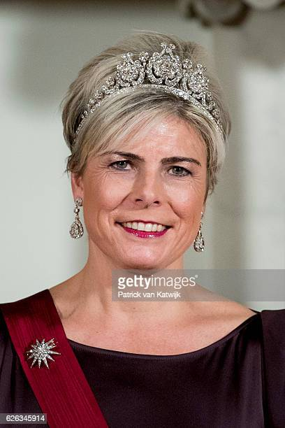 Princess Laurentien of The Netherlands during the official photo ahead the state banquet for the Belgian King and Queen on November 28, 2016 in...
