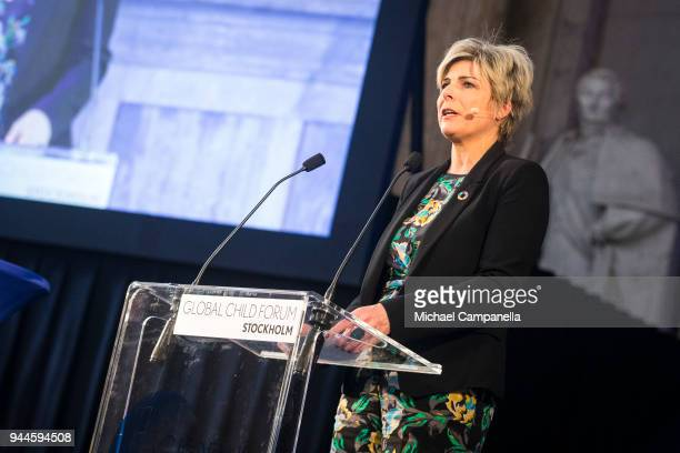 Princess Laurentien of the Netherlands gives a speech at the Global Child Forum 2018 at the Stockholm Palace on April 11 2018 in Stockholm Sweden