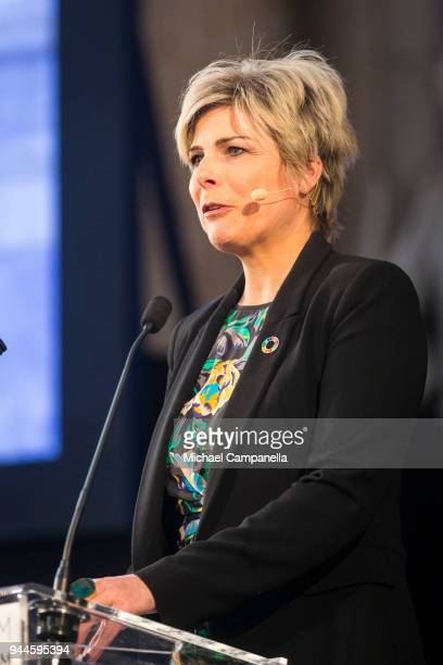 Princess Laurentien of the Netherlands gives a speech during the Global Child Forum 2018 at the Stockholm Palace on April 11 2018 in Stockholm Sweden