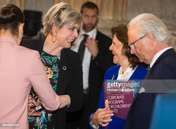 Princess Laurentien of the Netherlands jokes with Queen Silvia of Sweden during the Global Child Forum 2018 at the Stockholm Palace on April 11, 2018...