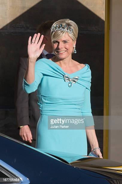 Princess Laurentien of the Netherlands leaves the Royal Palace in Amsterdam to attend a dinner hosted by Queen Beatrix of The Netherlands ahead of...