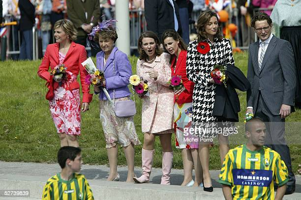 Princess Laurentien Princess Margriet Princess Annette Anita van Eijk Aimee Sohngen and Prince Bernhard of the Netherlands attend Queen's day on...