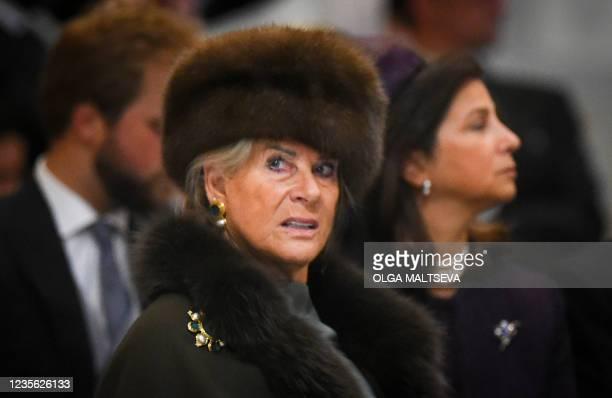 Princess Lea of Belgium attends the wedding ceremony of Grand Duke George Mikhailovich Romanov and Victoria Romanovna Bettarini at Saint Isaac's...