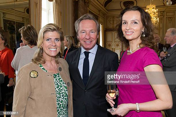 Princess Lea of Belgium Belgian fashion designer Edouard Vermeulen and Countess Belen de LimburgStirum attend an award giving ceremony for French...