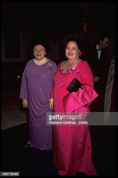 Princess Leonida Bagration of Mukhrani with her daughter Maria Vladimirovna Grand Duchess of Russia attend the reception on the eve of the wedding of...