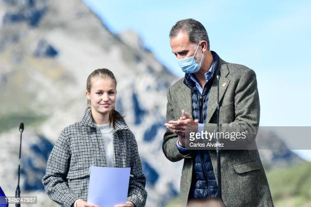 Princess Leonor and King Felipe of Spain during their visit to Santa Maria del Puerto de Somiedo, which has been honoured as the 2021 Best Asturian...