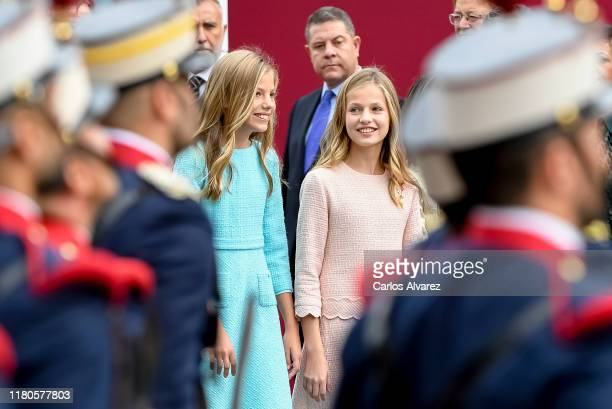 Princess Leonor and Princess Sofia attend the National Day Military Parade on October 12 2019 in Madrid Spain