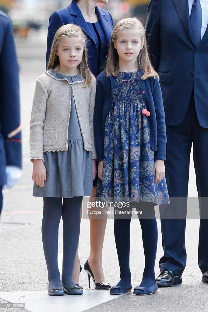 Princess Leonor (R) and Princess Sofia attend the National Day Military Parade 2015 on October 12, 2015 in Madrid, Spain.
