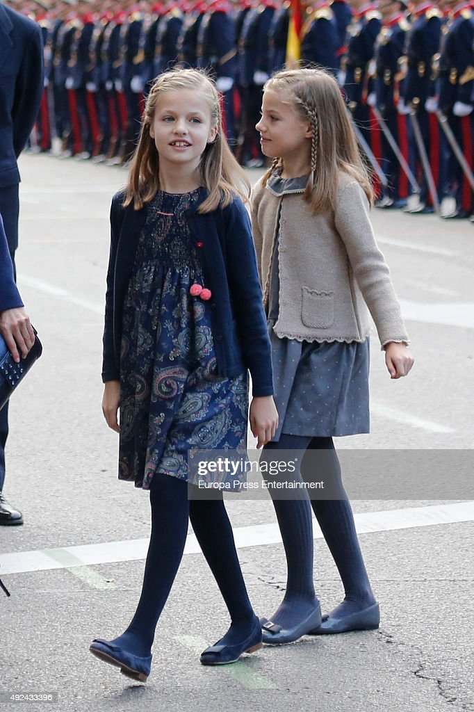 Princess Leonor (L) and Princess Sofia attend the National Day Military Parade 2015 on October 12, 2015 in Madrid, Spain.
