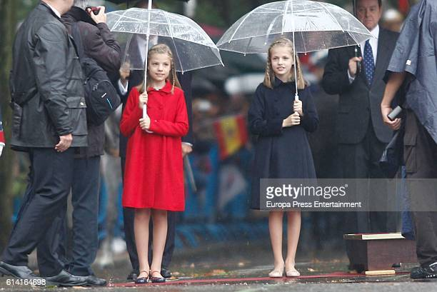 Princess Leonor and Princess Sofia attend the National Day Military Parade 2016 on October 12 2016 in Madrid Spain
