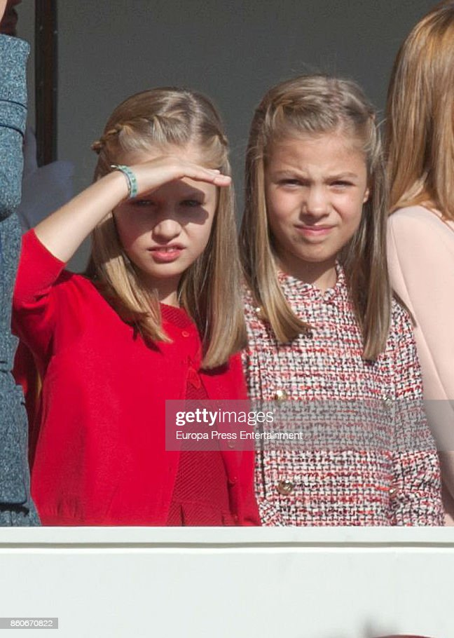 Princess Leonor and Princess Sofia attend the National Day Military Parade 2017 on October 12, 2017 in Madrid, Spain.