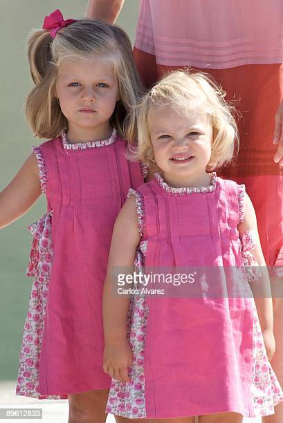 Princess Leonor and Princess Sofia pose for photographers during the summer holidays on August 5 2009 in Palma de Mallorca Spain