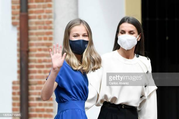 Princess Leonor and Queen Letizia of Spain arrive for the confirmation of Princess Leonor at 'Asuncion de Nuestra Señora' church in the municipality...