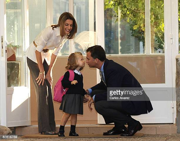 """Princess Leonor arrives at school on her first day with parents Crown Prince Felipe and Princess Letizia on September 15, 2008 at """"Santa Maria de los..."""