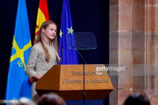 Princess Leonor attends the Princesa de Asturias Awards 2020 ceremony at the Reconquista Hotel on October 16, 2020 in Oviedo, Spain.