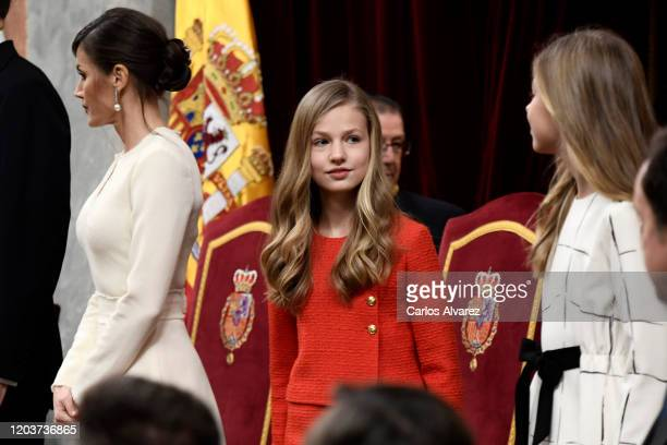 Princess Leonor attends the solemn opening of the 14th legislature at the Spanish Parliament on February 03, 2020 in Madrid, Spain.