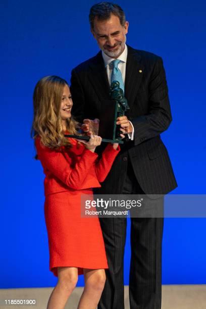 Princess Leonor de Borbon and King Felipe VI of Spain seen attending the Princesa de Girona Foundation Awards on November 04 2019 in Barcelona Spain
