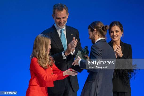 Princess Leonor de Borbon King Felipe VI of Spain and Queen Letizia of Spain seen attending the Princesa de Girona Foundation Awards on November 04...