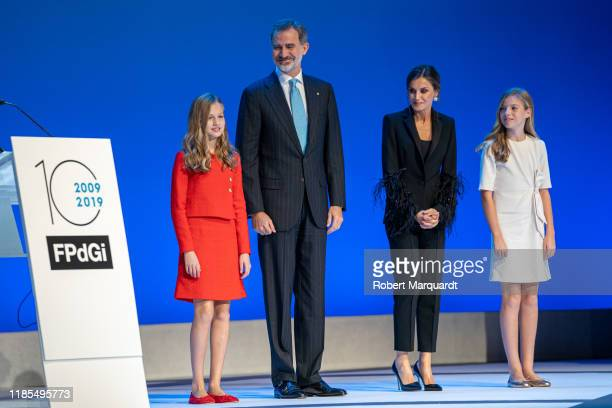 Princess Leonor de Borbon, King Felipe VI of Spain, Queen Letizia of Spain and Infanta Sofia de Borbon seen attending the Princesa de Girona...