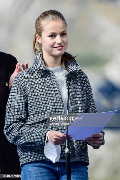 Princess Leonor during their visit to Santa Maria del Puerto de Somiedo, which has been honoured as the 2021 Best Asturian Village, the day after the...