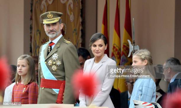 Princess Leonor King Felipe of Spain Queen Letizia of Spain and Princess Sofia attend the National Day Military Parade on October 12 2018 in Madrid...