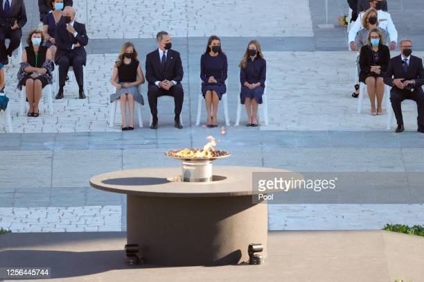 Princess Leonor King Felipe of Spain Queen Letizia of Spain and Princess Sofia attend the State tribute to the victims of the coronavirus at the...