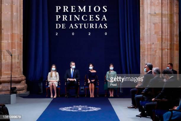 Princess Leonor, King Felipe Of Spain, Queen Letizia of Spain and Princess Sofia attend the Princesa de Asturias Awards 2020 ceremony at the...