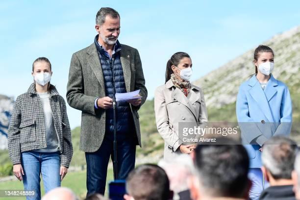 Princess Leonor, King Felipe of Spain, Queen Letizia of Spain and Princess Sofia during their visit to Santa Maria del Puerto de Somiedo, which has...