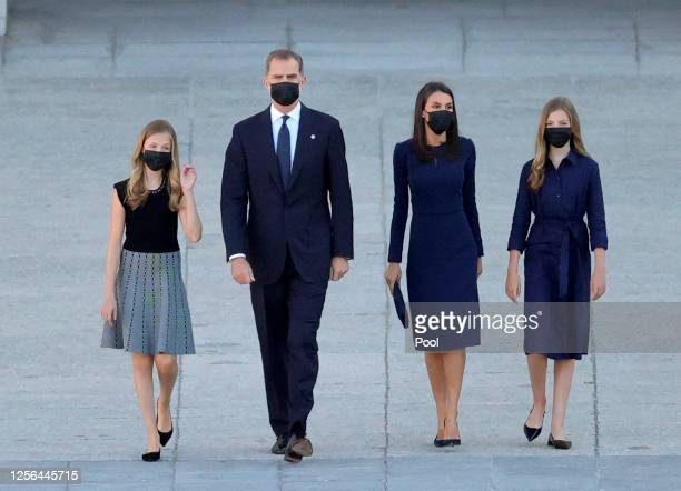 Princess Leonor King Felipe of Spain Queen Letizia of Spain and Princess Sofia arrive to the State tribute to the victims of the coronavirus at the...