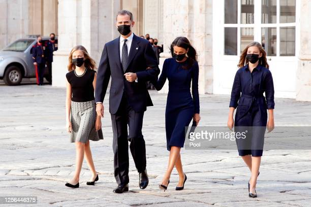 Princess Leonor, King Felipe of Spain, Queen Letizia of Spain and Princess Sofia arrive to the State tribute to the victims of the coronavirus at the...