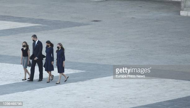 Princess Leonor King Felipe VI Queen Letizia and Infanta Sofía are seen after the State tribute to the victims of the coronavirus at the Royal Palace...