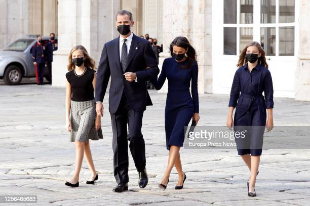 Princess Leonor King Felipe VI Queen Letizia and Infanta Sofía arrive at the Armory Courtyard of the Royal Palace to the State tribute to the victims...