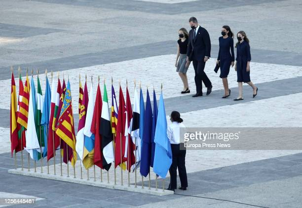 Princess Leonor King Felipe VI Queen Letizia and Infanta Sofia are seen upon arrival to the State tribute to the victims of the coronavirus at the...