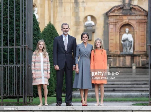 Princess Leonor, King Felipe VI, Queen Letizia and Infanta Sofia, arrive at Oviedo ahead of the 'Princesa de Asturias Awards' 2019 on October 17,...