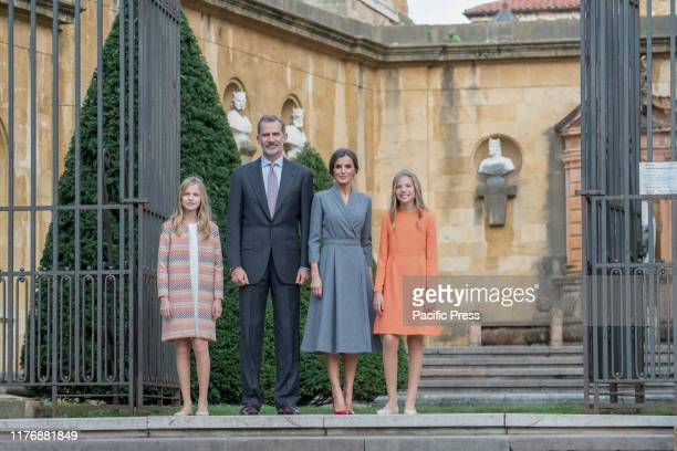Princess Leonor , King Felipe VI, Queen Letizia and Infanta Sofia pose for the media before entering the Cathedral during the Royal Family Welcome...