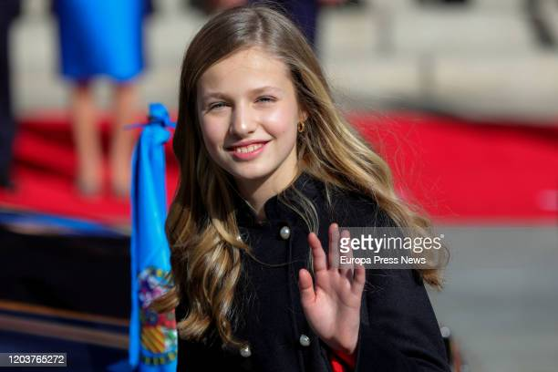 Princess Leonor left the solemn opening of the 14th legislature at the Spanish Parliament on February 03, 2020 in Madrid, Spain.