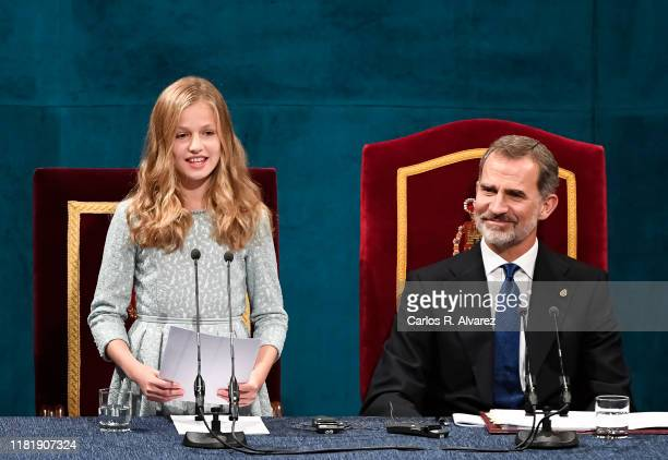 Princess Leonor of Spain and King Felipe VI of Spain attend the Princesa de Asturias Awards 2019 ceremony at the Campoamor Theater on October 18,...