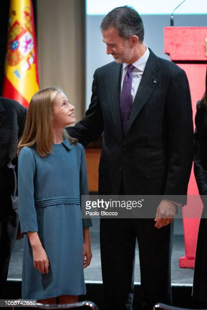 Princess Leonor of Spain and King Felipe VI of Spain attend the reading of the Spanish Constitution for the 40th anniversary of its approval by the...