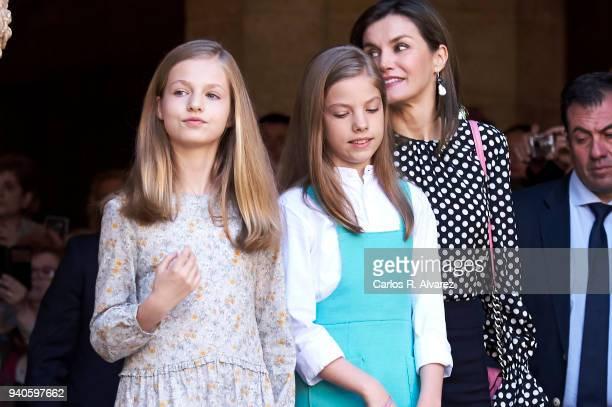 Princess Leonor of Spain and Princess Sofia of Spain and Queen Letizia of Spain attend the Easter mass on April 1 2018 in Palma de Mallorca Spain