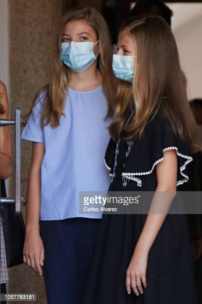 Princess Leonor of Spain and Princess Sofia of Spain are seen leaving from the Parador of Merida on July 23 2020 in Merida Spain This trip is part of...