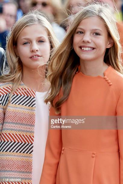 Princess Leonor of Spain and Princess Sofia of Spain arrive at Oviedo Cathedral ahead of the 'Princesa de Asturias Awards' 2019 on October 17, 2019...