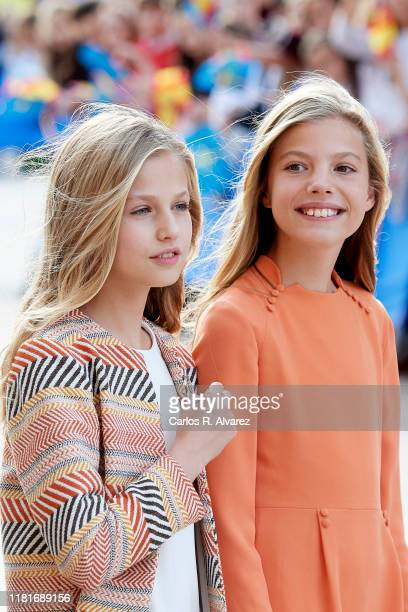 Princess Leonor of Spain and Princess Sofia of Spain arrive at Oviedo Cathedral ahead of the 'Princesa de Asturias Awards' 2019 on October 17 2019 in...