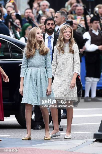 Princess Leonor of Spain and Princess Sofia of Spain arrive to the Campoamor Theatre ahead of the 'Princesa de Asturias' Awards Ceremony 2019 on...