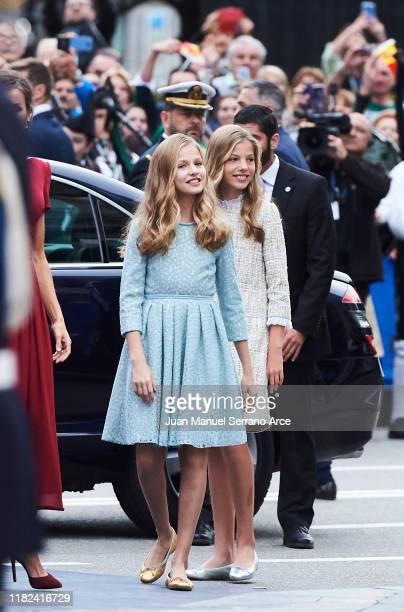 Princess Leonor of Spain and Princess Sofia of Spain arrives to the Campoamor Theatre ahead of the 'Princesa de Asturias' Awards Ceremony 2019 on...