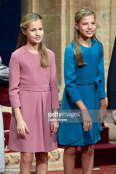 Princess Leonor of Spain and Princess Sofia of Spain attend several audiences to congratulate the winners at the Reconquista Hotel during the...