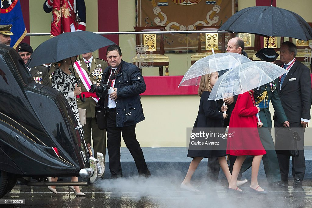 Princess Leonor of Spain (L) and Princess Sofia of Spain (R) attend the National Day military parade on October 12, 2016 in Madrid, Spain.