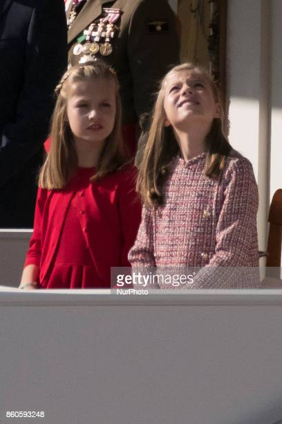 Princess Leonor of Spain and Princess Sofia of Spain attend the National Day Military Parade 2017 on October 12 2017 in Madrid Spain