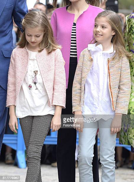 Princess Leonor of Spain and Princess Sofia of Spain attend the Easter Mass at the Catedral de Palma on March 27 2016 in Palma de Mallorca Spain